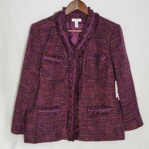 Charter Club Women's Fringe Tweed Blazer NWT